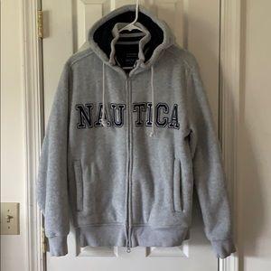 NAUTICA fleece zipfront jacket,SMALL,gray & navy